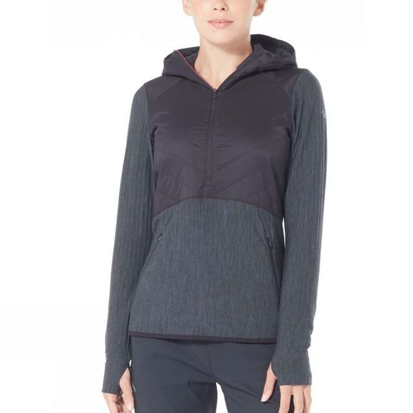 Icebreaker Womens Descender Hybrid LS Half Zip Hood Black/Jet Heather/Prism