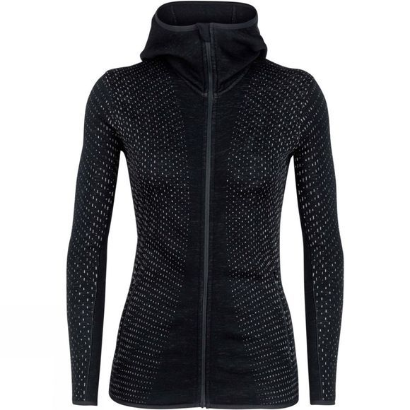 Icebreaker Womens Elemental LS Zip Hood Crystal Fleece Black