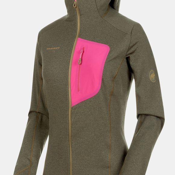 Mammut Womens Aconcagua Light ML Hooded Jacket  Olive Melange/Pink