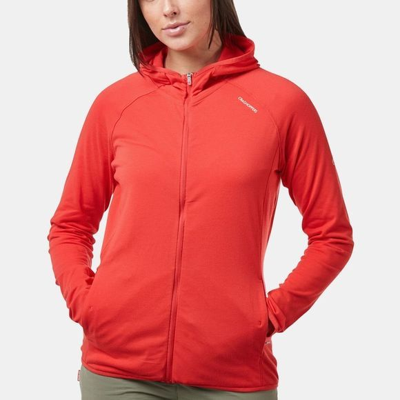 Craghoppers Wowmens NosiLife Nilo Hooded Top Rio Red