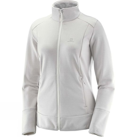 Salomon Womens Discovery Full Zip Midlayer Jacket Vaporous Gray Heathe