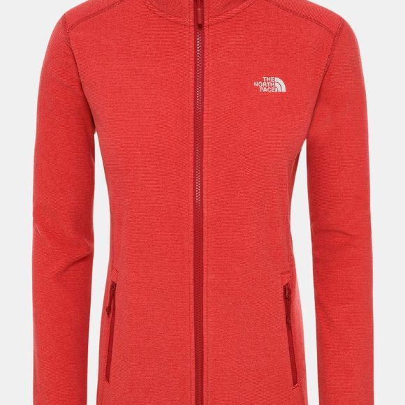 The North Face Womens 100 Glacier Full Zip Fleece Cardinal Red/Juicy Red Stripe