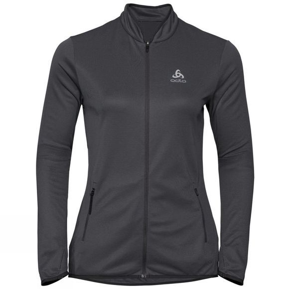 Odlo Womens Fli Ceramiwarm Midlayer Black - Odlo Graphite Grey - Stripes