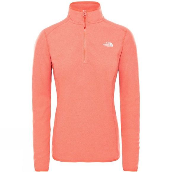 The North Face Womens 100 Glacier 1/4 Zip Fleece Juicy Red Stripe