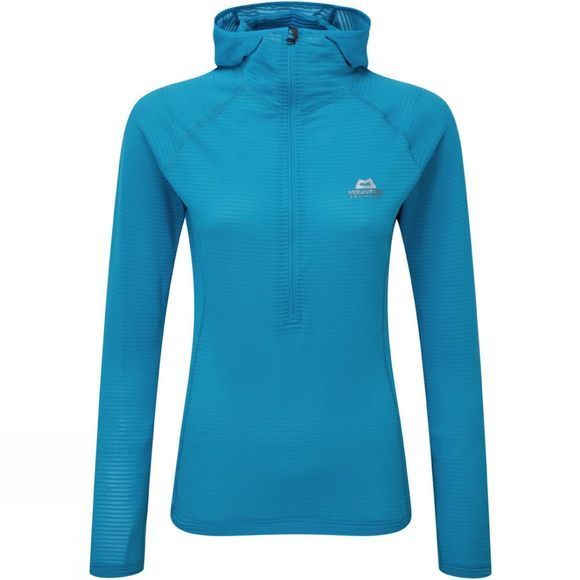 Mountain Equipment Womens Solar Eclipse Hooded Zip Tee Digital Blue