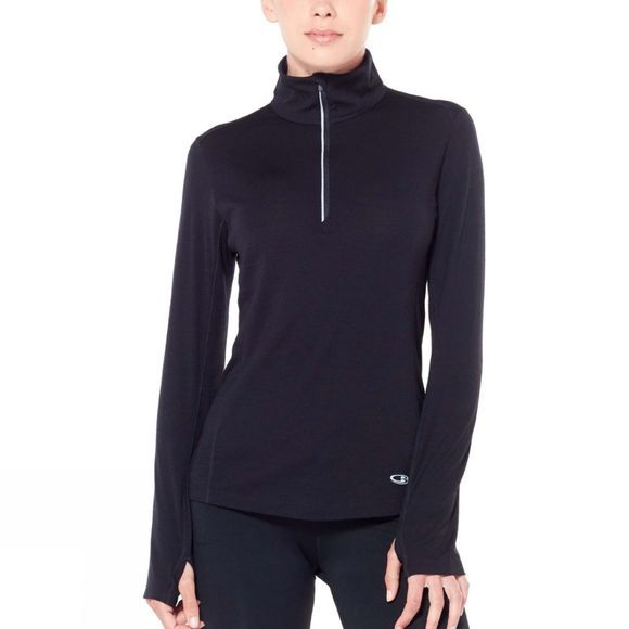 Icebreaker Womens Comet Lite LS Half Zip Fleece Black