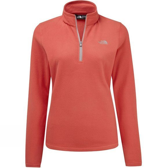 The North Face Womens Cornice II 1/4 Zip Fleece Spiced Coral/Foil Grey