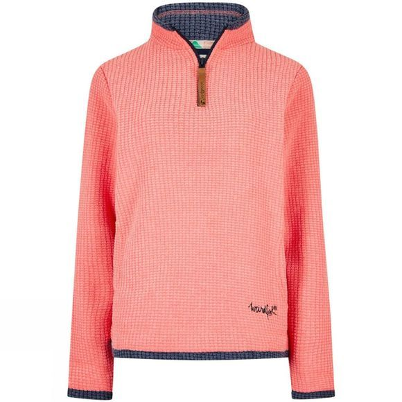 Weird Fish Womens Beyonce 1/4 Zip Grid Fleece Orchid Pink