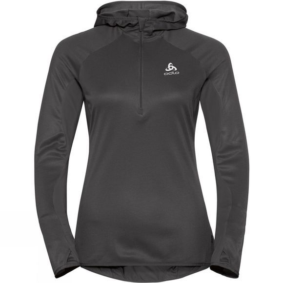 Odlo Womens Blaze Ceramiwarm 1/2 Zip Midlayer Hoody Black - Odlo Graphite Grey - Stripes
