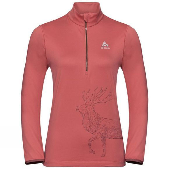 Odlo Womens Trafoi 1/2 Zip Midlayer Faded Rose - Placed Print FW19