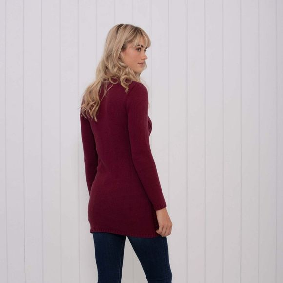 Brakeburn Womens Cable Knit Tunic Burgundy