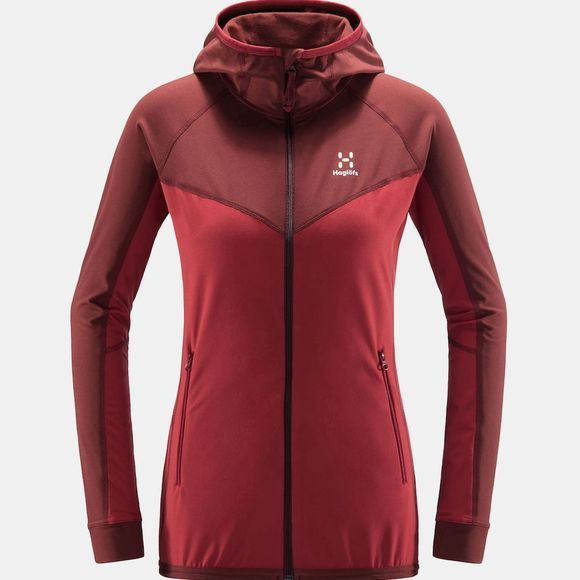 Haglofs Womens Lithe Hooded Jacket Brick red/maroon red