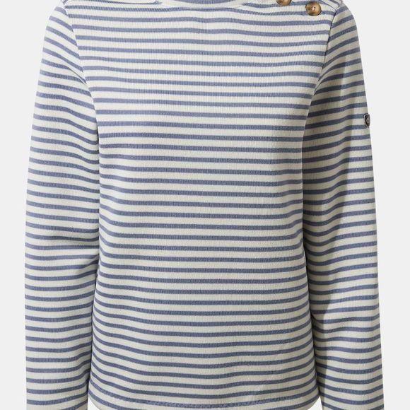 Craghoppers Womens Balmoral Crew Neck Hoodie Paradise Blue Stripe