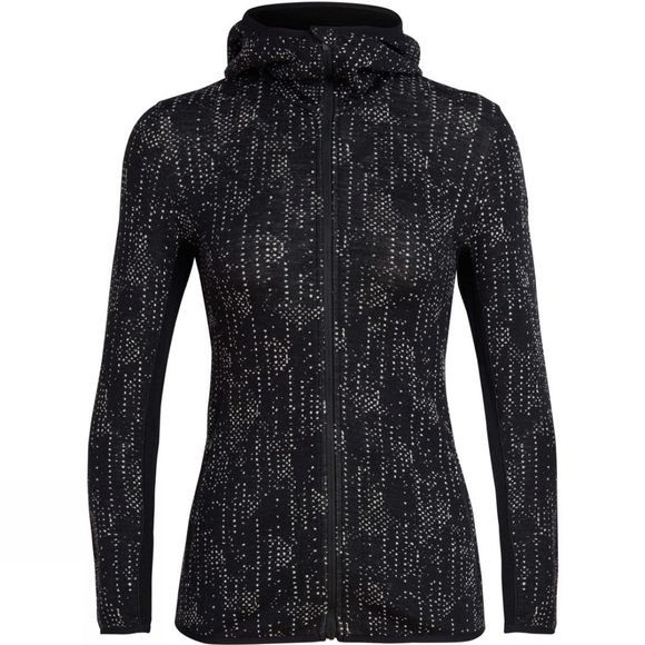 Icebreaker Womens Away Long Sleeve Zip Hood Showers Hoody Black