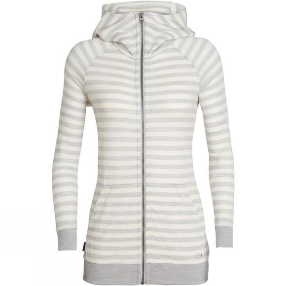 Icebreaker Womens Crush Long Sleeve Zip Hoody Blizzard Heather / Snow / Stripe