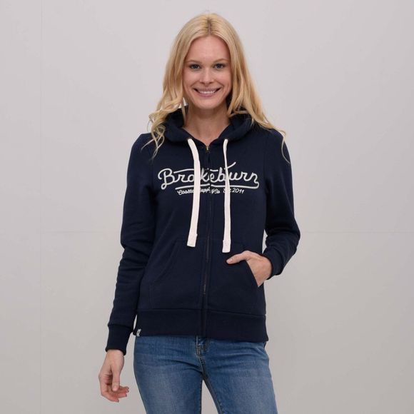 Brakeburn Womens Embroidered Zip Hoody Navy