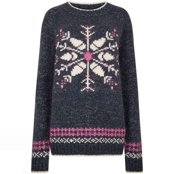 Weird Fish Womens Fiona Snowflake Jumper Dark Navy