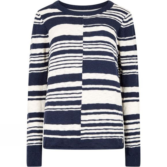 Weird Fish Womens Lassen Mixed Stripe Jumper Dark Navy