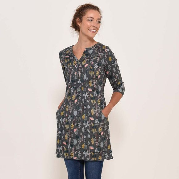 Brakeburn Abstract leaf tunic Blue Slate