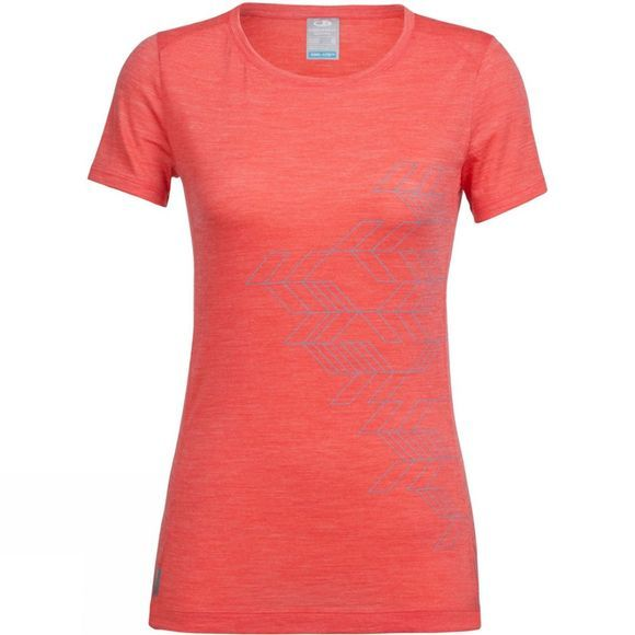 Icebreaker Womens Sphere Short Sleeve Low Crewe Fracture T-Shirt Poppy Red
