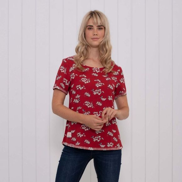 Brakeburn Womens Blossom Embroidered Top Red