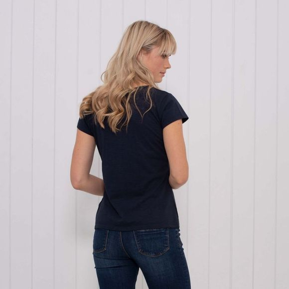 Brakeburn Womens Garment Dyed Pleated Tee Navy