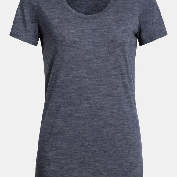 Icebreaker Womens Solace Short Sleeve Scoop T-Shirt Midnight Navy Heather