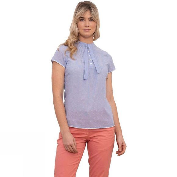 Brakeburn Women's Lace Up Pintuck Blouse Blue