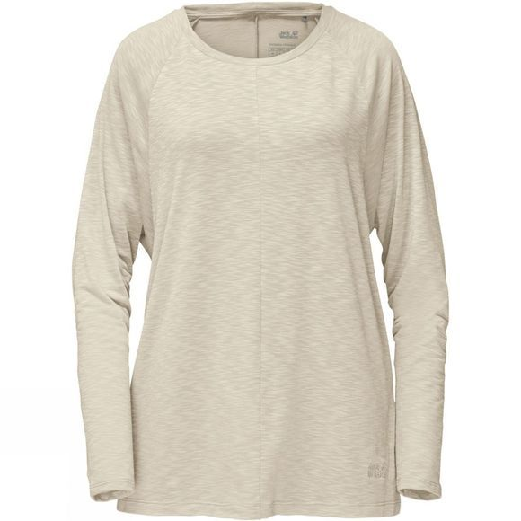 Jack Wolfskin Womens Travel Longsleeve T-Shirt White Sand