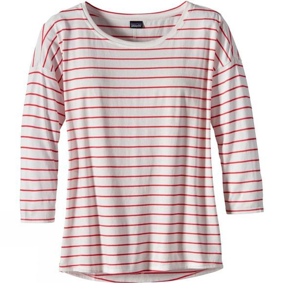 Patagonia Womens Shallow Seas 3/4 Length Sleeve Top Breakwater Stripe Birch White