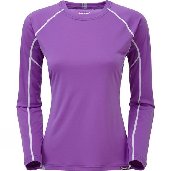 Montane Womens Sonic Long Sleeve T-Shirt Dahlia/Ice White