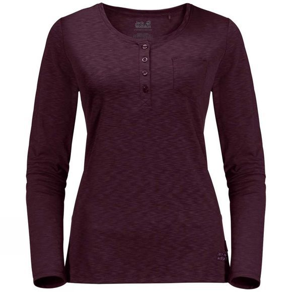 Jack Wolfskin Womens Winter Travel Henley Long Sleeve Top Burgundy
