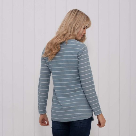Brakeburn Womens Stripe Woven Long Sleeve Tee Blue
