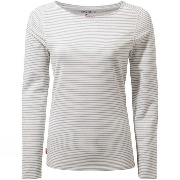 Craghoppers Womens Nosilife Erin II Long Sleeve T-Shirt Soft Grey Marl Stripe
