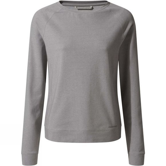 Craghoppers Womens Nosilife Sydney Crew Long Sleeve T-Shirt Soft Grey Marl