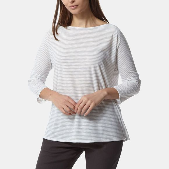 Craghoppers Womens NosiLife Shelby Long Sleeve Top Soft Grey Combo