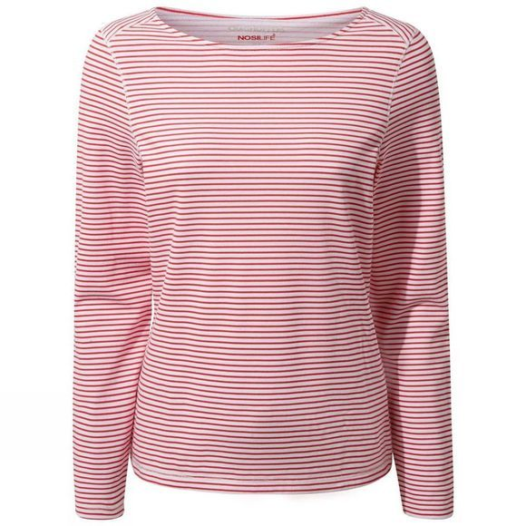 Craghoppers Womens NosiLife Erin Long Sleeved T-shirt Rio Red Stripe