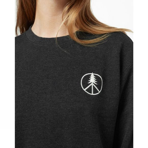 Tentree Womens Peace Tree Long Sleeve Crew Meteorite Black Heather