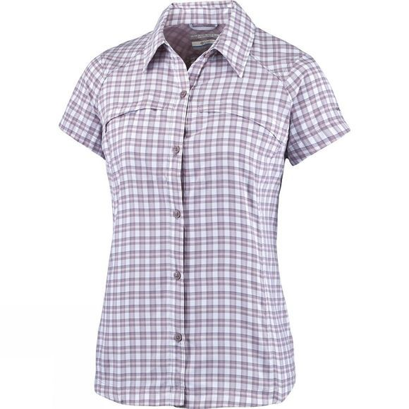 Columbia Women's Silver Ridge Multi Plaid Short Sleeve Shirt Sparrow Ripstop Plaid