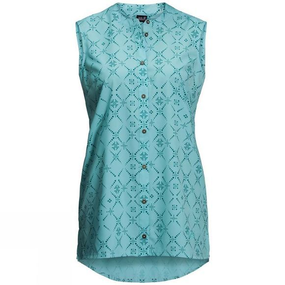 Jack Wolfskin Womens Sonora Maori Sleeveless Aqua All Over
