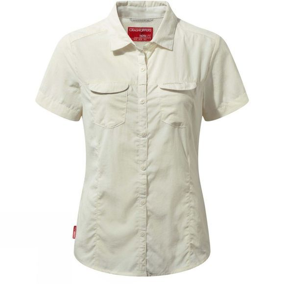 Craghoppers Womens NosiLife Adventure II Short Sleeve Shirt Sea Salt