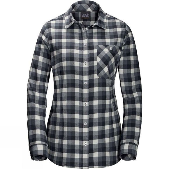 Jack Wolfskin Womens Bow River Shirt Black Checks