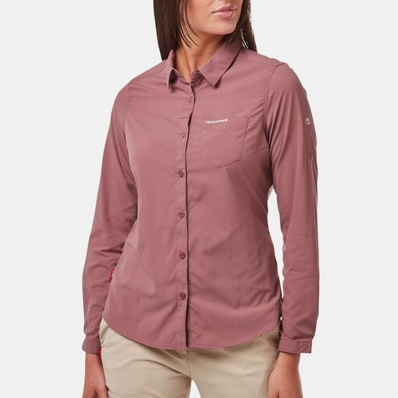 Craghoppers Womens Nosilife Bardo Long Sleeve Shirt Cassis