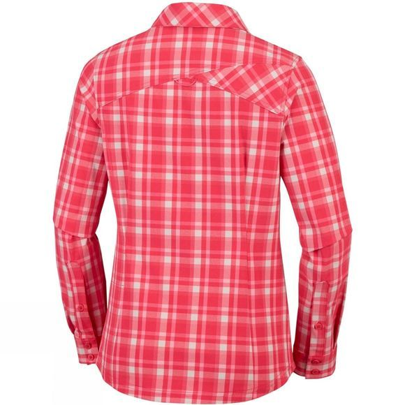 Columbia Womens Saturday Trail Stretch Plaid Long Sleeve Shirt Red Coral Plaid
