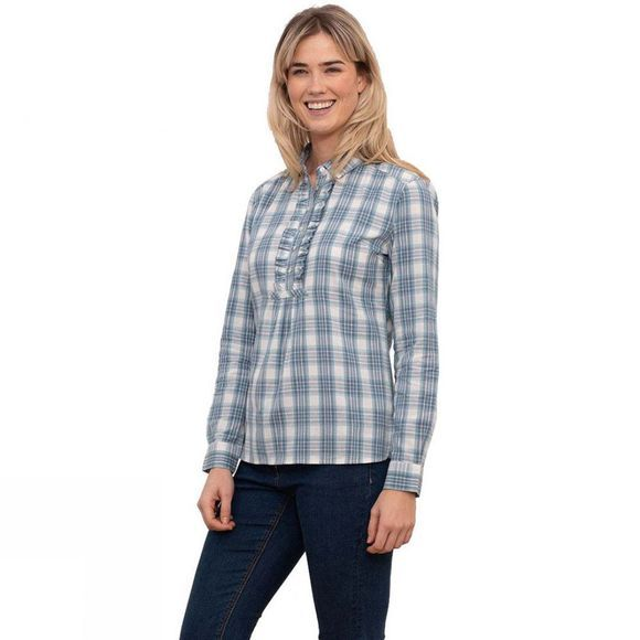 Brakeburn Women's Ruffles Check Shirt White