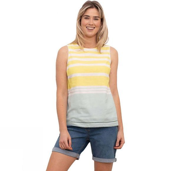 Brakeburn Women's Stripe Sleeveless Blouse Yellow