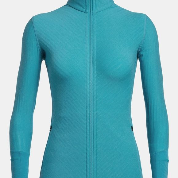 Icebreaker Womens Descender Long Sleeve Zip Arctic Teal