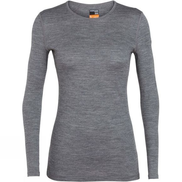 Icebreaker Womens 200 Oasis Long Sleeve Crewe Top Gritstone Heather