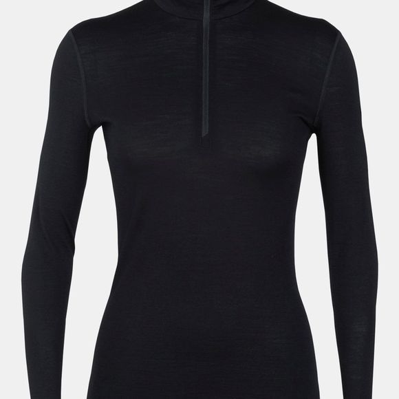 Icebreaker Womens 200 Oasis Long Sleeve Half Zip Top Black