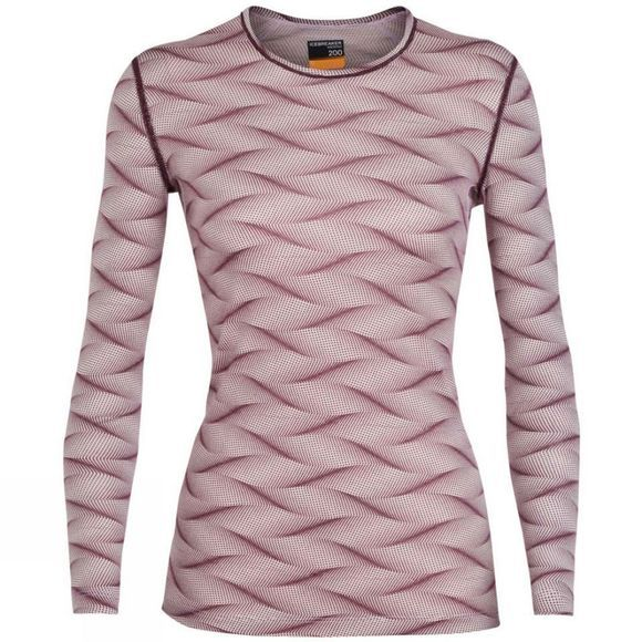 Icebreaker Womens 200 Oasis LS Crewe Curve Top Blush Heather/Velvet